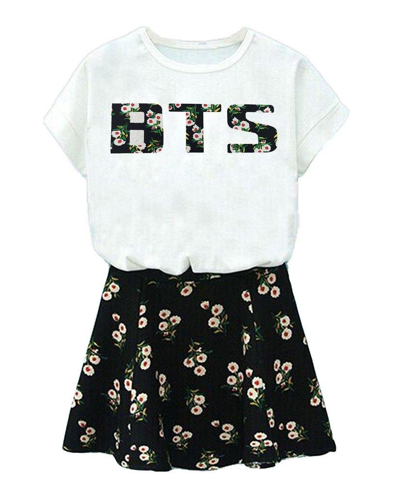BTS Suga Jin Jimin Jung Kook Printed T-Shirt + Floral Skirt Two Piece Suit S