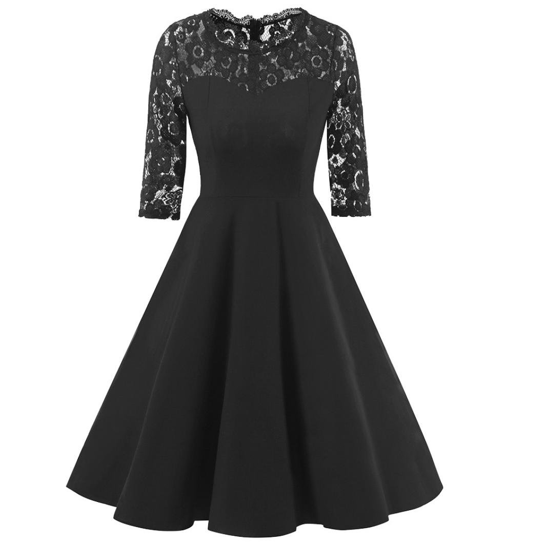 Women Dress Daoroka Ladies Sexy Lace Vintage Lace Half Sleeve Wedding Cocktail Evening Party A Line Swing Skirt Elegant Retro Fit and Flare Casual Fashion Cute Gift Fit Sundress (2XL, Black)