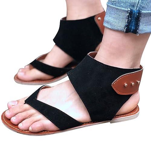 Hibote Damen Sandalen Flat Riemchen Sommer t-Bar Flache Gladiator Boho Sandalen Schuhe Thong T-Gurt Flip Flops 35-43 fDrhSXTZkS
