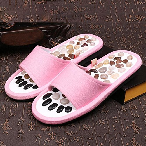 LIXIONG Zapatillas Mujer Verano Interior Masaje Antideslizante Adoquines Fondo suave Zapato 4 colores -Zapatos de moda (Color : Gris, Tamaño : 43-44) Pink