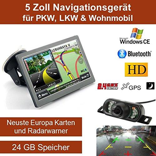 Elebest 12,7cm 5 Zoll Navigationsgerä t, mit 24 GB Speicher, Fü r PKW,LKW&Wohnmobil,GPS,Navigation,Funk Rü ckfahrkamera 7 LED´ s, AV-IN, Bluetooth, Erweiterbarer Speicher, Fahrspurassistent, Geschwindigkeitsanzeige,Neuste Karten sowie