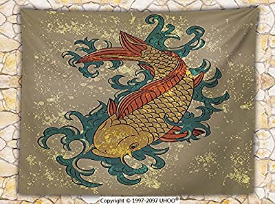 Japanese Decor Fleece Throw Blanket Grunge Asian Style Oriental Cold Water Koi Carp Fish Aquatic Theme on Distressed Pattern Throw