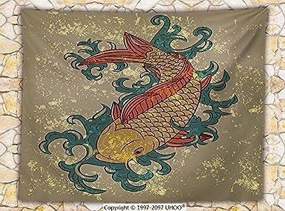 Japanese Decor Fleece Throw Blanket Grunge Asian Style Oriental Cold Water Koi Carp Fish Aquatic Theme on Distressed Pattern Throw
