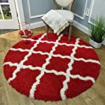 Maxy Home Bella Trellis Red 5 ft. Round Shag Area Rug