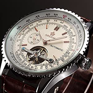 Carrie Hughes Men's Tourbillon Steampunk Automatic Mechanical Stainless Steel Leather Watch