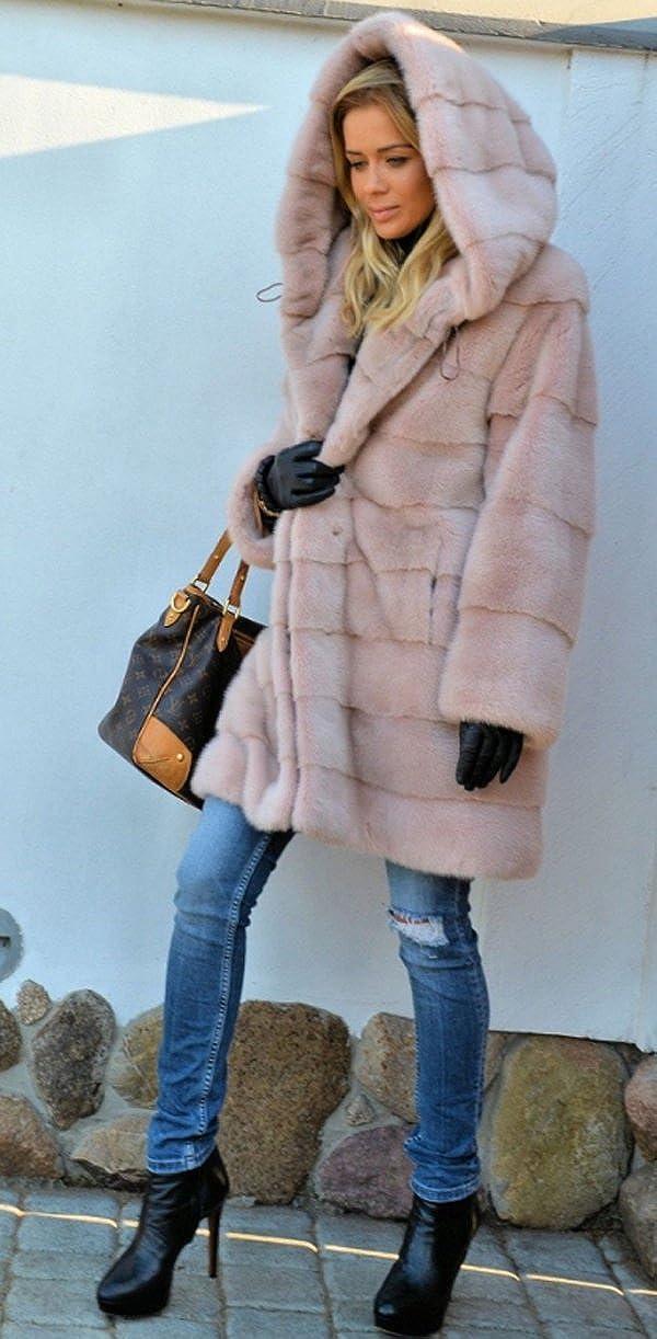 Aox Women Casual Winter Coat Fluffy Faux Fur Hood Warm Thicken Outdoor Jacket Plus Size Anorak