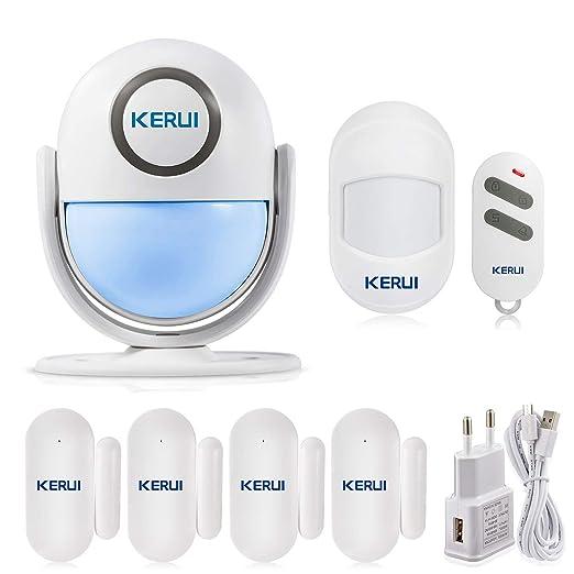 KERUI WP6 Alarma Casa WiFi del Sensor Movimiento Inalámbrica para Hogar/Autocaravana/Tienda, Kit de Sistema Alarma Seguridad DIY con Detector de ...