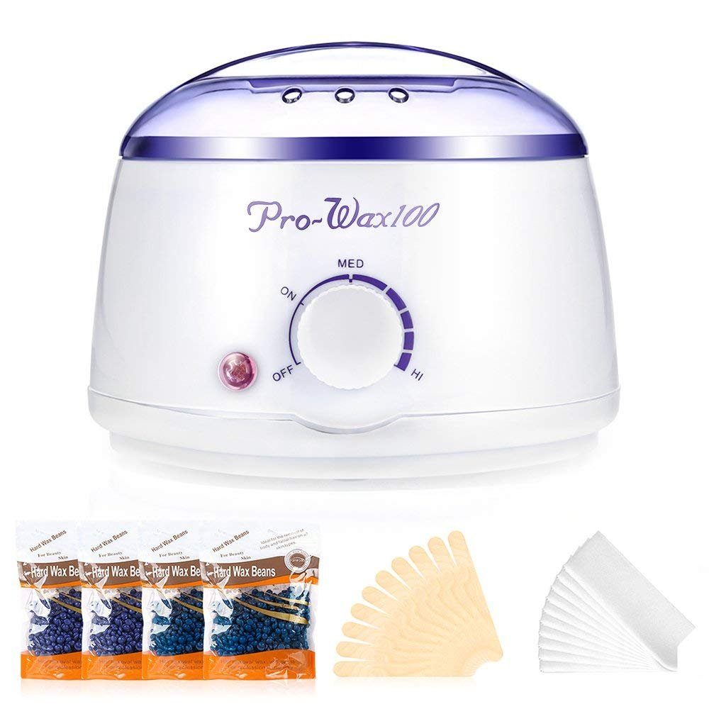 Wax Warmer, Electric Fast-heating Painless Wax Melting Pot for Body Hair Removal with 4 Packs 100g Hard Wax Beans & 10 Waxing spatulas & 10 Waxing Strips Lante
