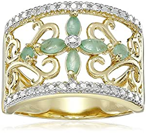 Yellow Gold Plated Sterling Silver Emerald with Diamond-Accent Flower Ring, Size 9