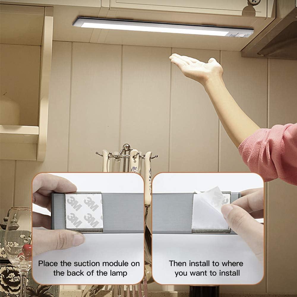 11.8in Kitchen LED Cabinbet Lamp Cabinet 54 Led Closet Light PIR Sensor Under Cabinet Lights//USB Rechargeable LED Light for Wardrobe