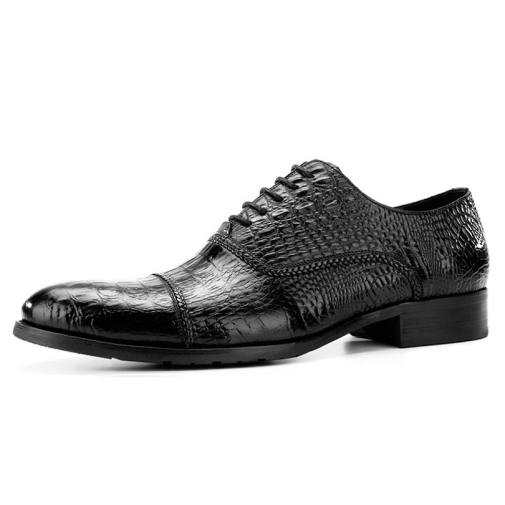 LYZGF Herren Gentleman Fashion Business Crocodile Pattern Casual Hochzeit Spitze Lederschuhe