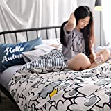 Set of 4 100% Cotton Duvet Cover Bedding Set Queen/Full For Adult Children Kids Boys Girls Teen Dorm Quilt Cover(200Cm×230Cm×1),Sheet(230Cm×250Cm×1),Pillowcases(48×74Cm×2) Wedding Thanksgiving Day Christmas Birthday Party Gift