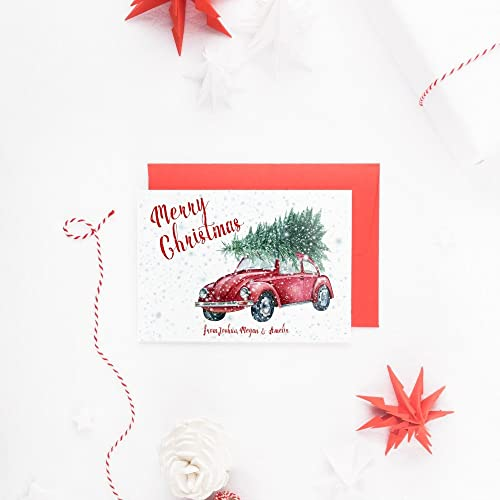 personalized christmas card box set retro holiday card merry christmas card simple christmas