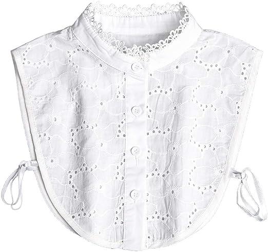 Cuello falso, con soporte de encaje, accesorio para suéter, encaje falso, cuello de pie hueco, bordado floral, media camisa.: Amazon.es: Hogar