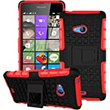 Heartly Flip Kick Stand Spider Hard Dual Rugged Armor Hybrid Bumper Back Case Cover For Microsoft Lumia 540 Dual SIM - Hot Red