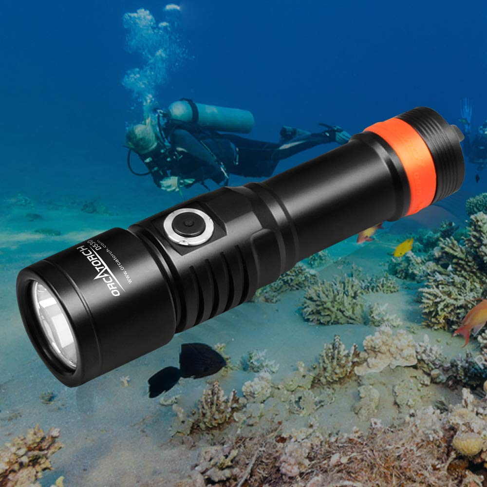 ORCATORCH D530 Dive Light, 1050 Lumens, 5 Degrees Narrow Beam Angle, Titanium Alloy Side Button Switch, Two Lighting Modes, with USB Battery, Battery Indicator, for Underwater 150 Meters Diving