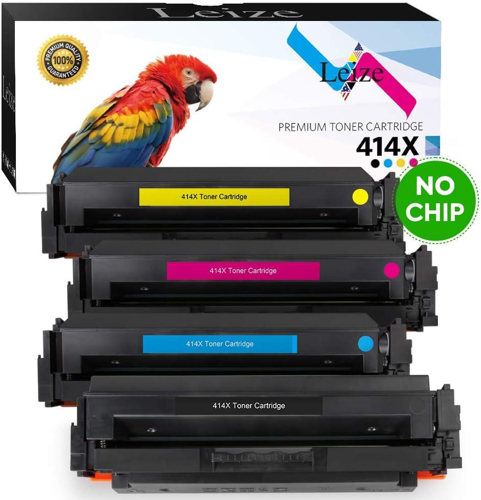 Leize (NO CHIP) Compatible Toner Cartridges Replacement for HP 414X 414A W2020X W2021X W2022X W2023X High Yield use for Color Laserjet Pro MFP M479fdw M479fdn M454dw M454dn 4-Pack KCMY