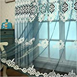 Cheap TIYANA Embroidery Sheer Curtain 84 inch length for Living Room Rod Pocket Top Embroidered Voile Luxury Design Gauze Tulle Window Panels for Bedroom, Accept Custom Size, 95″ W x 84″ H 1 Piece
