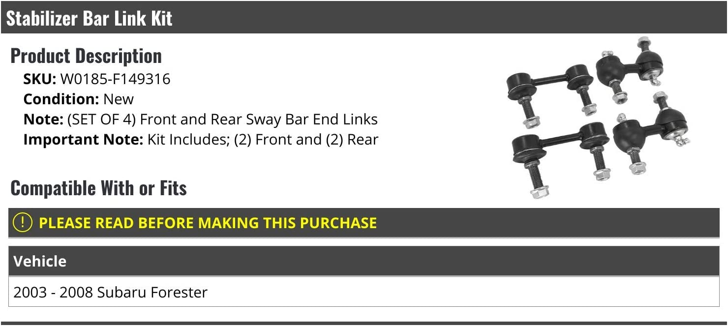 4 Piece Compatible with 2003-2008 Subaru Forester Stabilizer Bar Link Kit