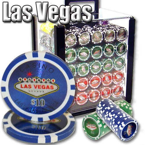 Brybelly 1,000 Ct Las Vegas Set - 14g Clay Composite Chips with Acrylic Display Case for Casino Games by Brybelly