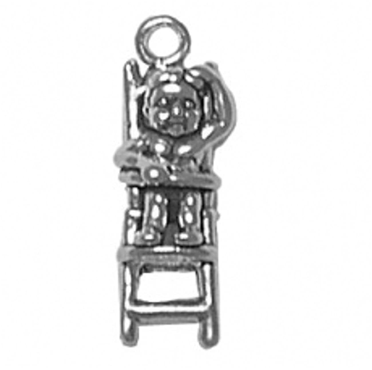 Sterling Silver Girls .8mm Box Chain 3D Baby Sitting In High Chair Hand On Head Pendant Necklace