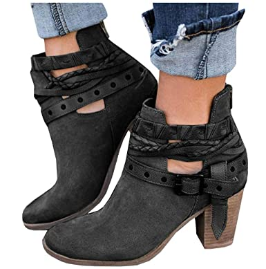 eb65768a3 Amazon.com: Womens Ankle Buckle Booties Wrap Straps Chunky Block Vcut Back  Zipper Western Boots: Clothing