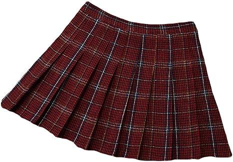 ZhuiKunA Mujer Cuadros Escocesa Mini Falda Plisada Falda Cuadros ...