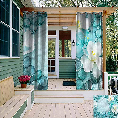 Beihai1Sun Sliding Door Curtain,Aqua Droplets Sea Salt and Orchids,Waterproof Patio Door Panel,W84x72L ()