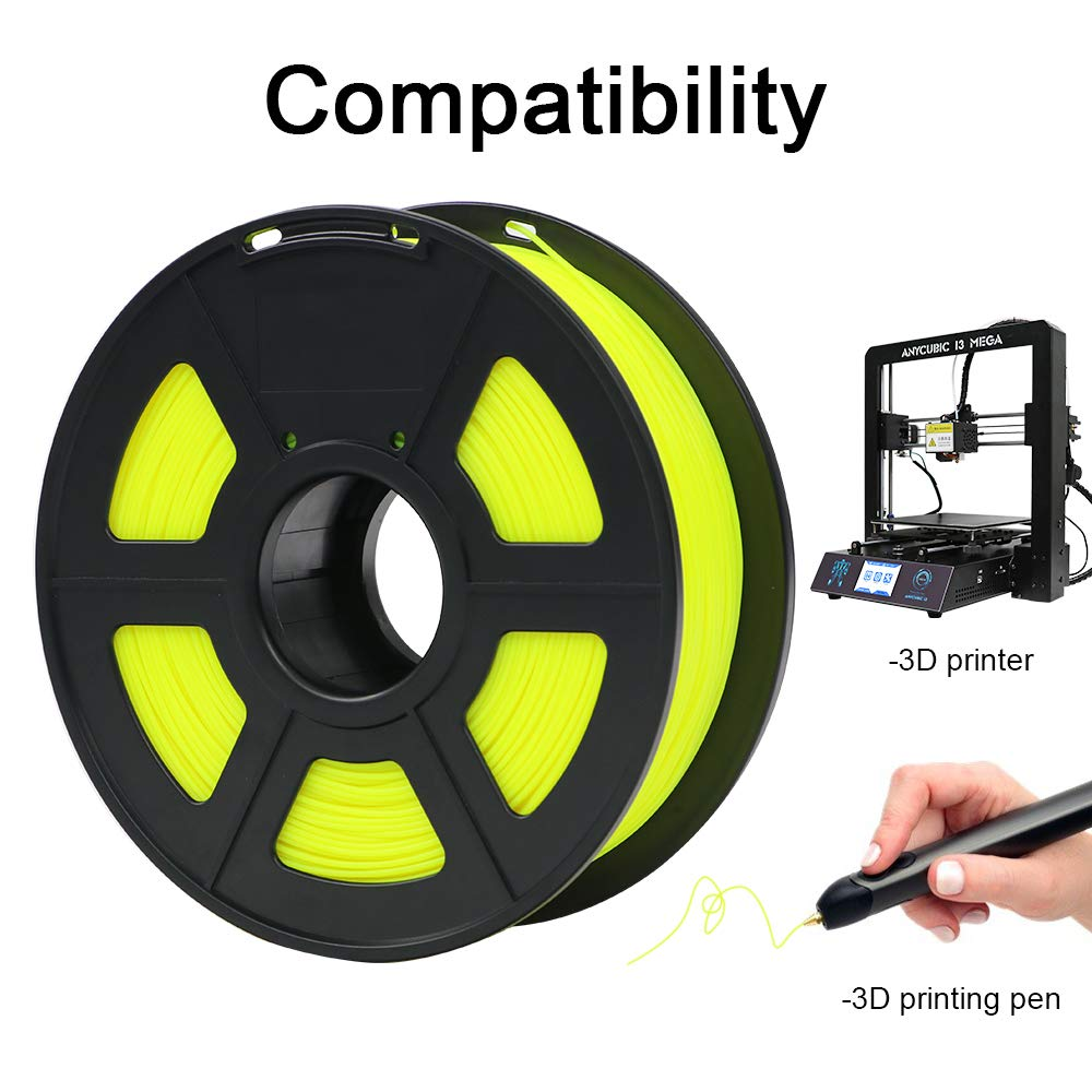 ANYCUBIC 1KG Filamento de 1.75 mm PLA Impresora 3D, Filamento PLA para Imprimir en 3D en Impresoras 3D y Lápices 3D (Amarillo)