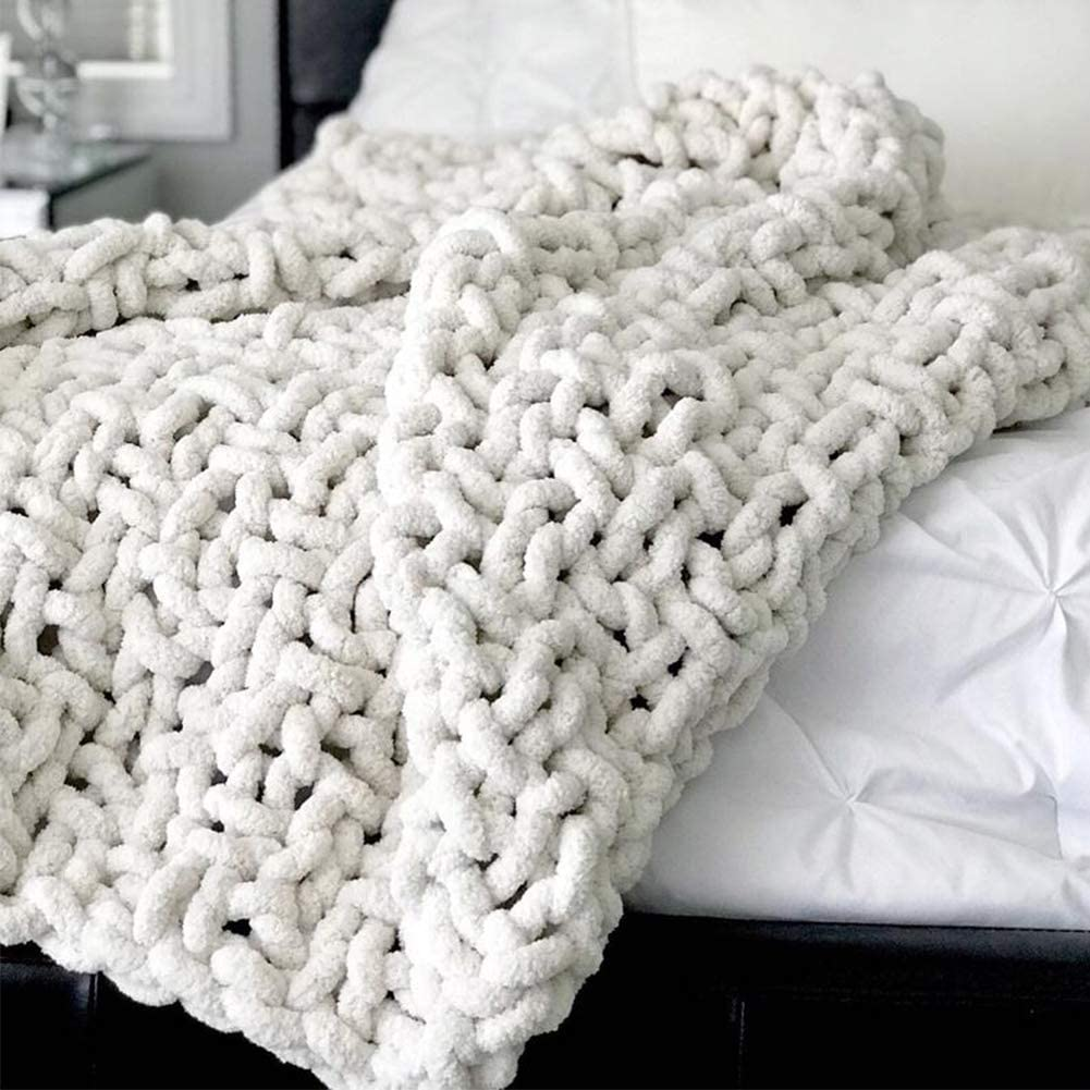 Chunky Knit Throw Blanket Soft Cozy Chenille Casual Handwoven Blanket for Bed Sofa Chair Home Decor (White, 50