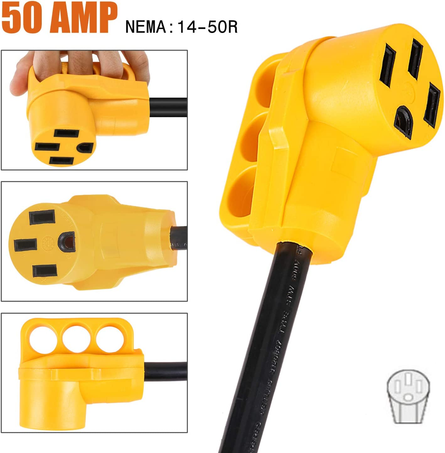 12Inch Length 30A Male to 50A Female RV Camper Trailer 5th Wheel Power Adapter with Grip Handle RV Electrical Converter Cord Cable