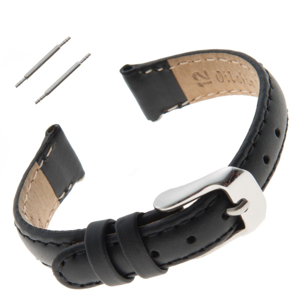Gilden 12-14mm Water-Resistant Oilskin Black Leather Ladies Watch Strap MSW63-0112 (12 Millimeter end Width)