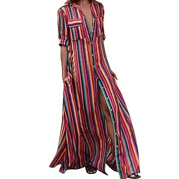 Vestidos Largos Mujer,Modaworld ❤ Vestido Largo de Playa A Rayas Sueltas de Las