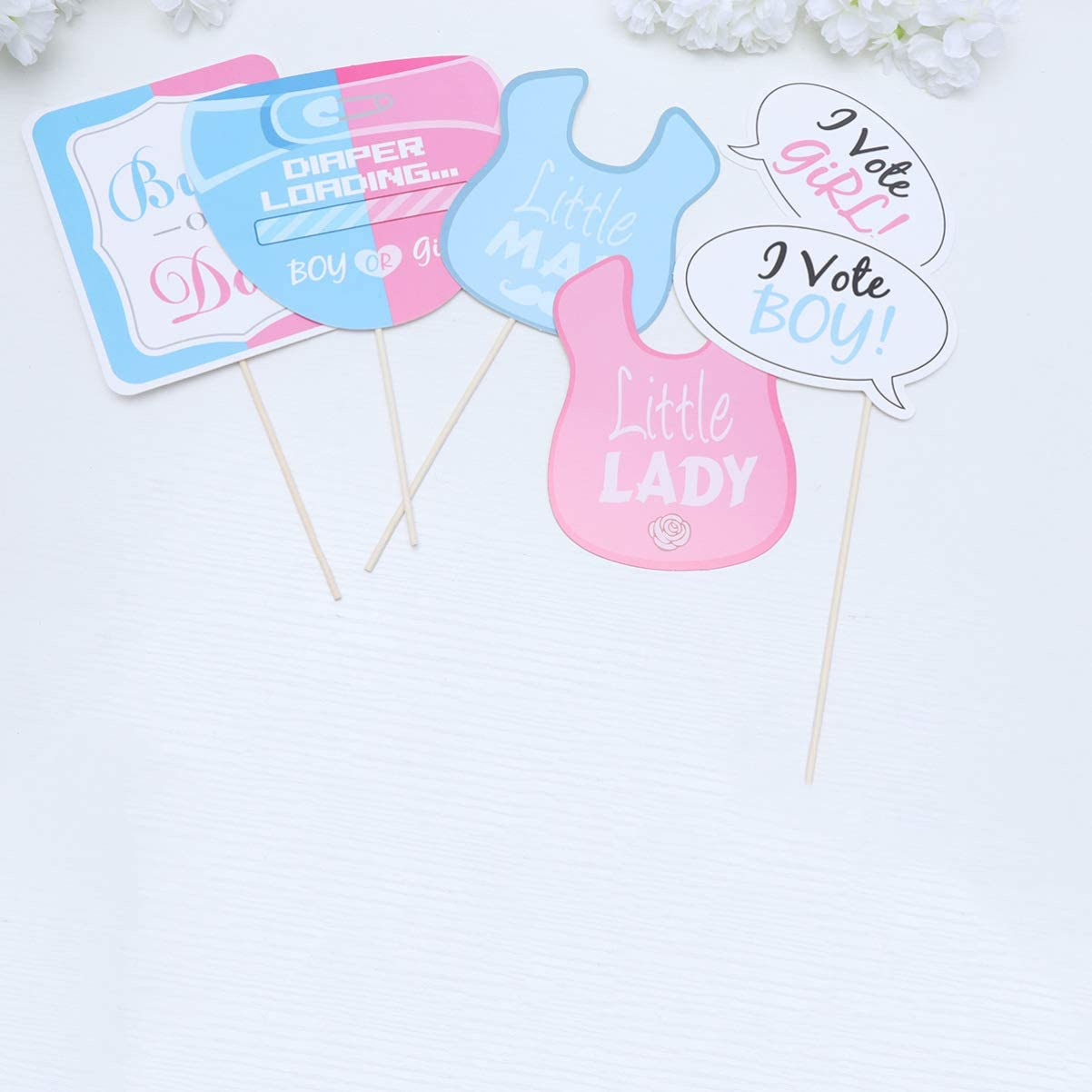 Holibanna Baby Shower Photo Booth Props Set Newborn Photo Props Gender Reveal Party Favors