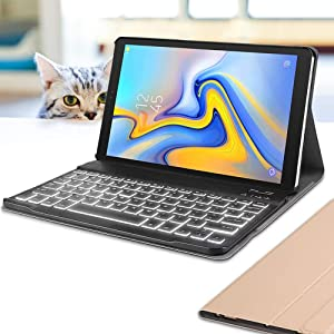 Wineecy Galaxy Tab A 10.5 Keyboard Case(SM-T590/T595, 2018 Version), 7 Color Backlit Detachable Wireless with Folio Case Cover for Samsung Galaxy Tab A 10.5 2018, SM-T590 SM-T595, Gold