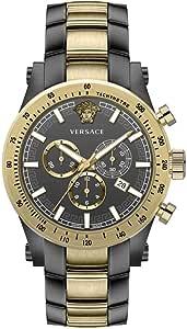 Versace Chronograph Mens Watch Swiss Made Sapphire Crystal Grey/Gold