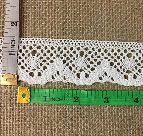 White Cotton Cluny Lace - 3 Yards Lot, Off White Cluny Lace Trim, 100% Cotton, 1.5