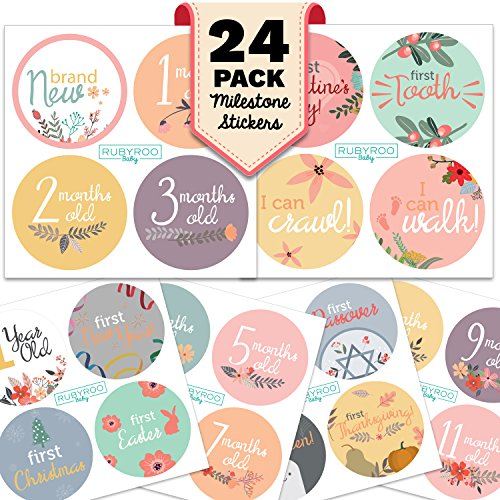 Monthly Baby Stickers - Huge 24 Pack of Baby Girl Onesie Belly Stickers. Includes 12 months, 1st year milestones & first holidays. Perfect baby shower & newborn birthday gift. (Floral) (Baby Leopard Pictures)