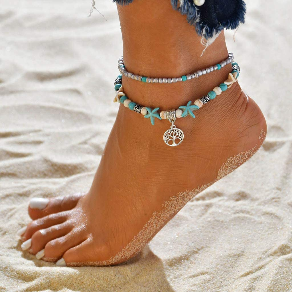 ZOOMY Anklet Bohemian Multi Capas Tortuga Beads Tobilleras Shell Pulsera Playa Joyas Color al Azar