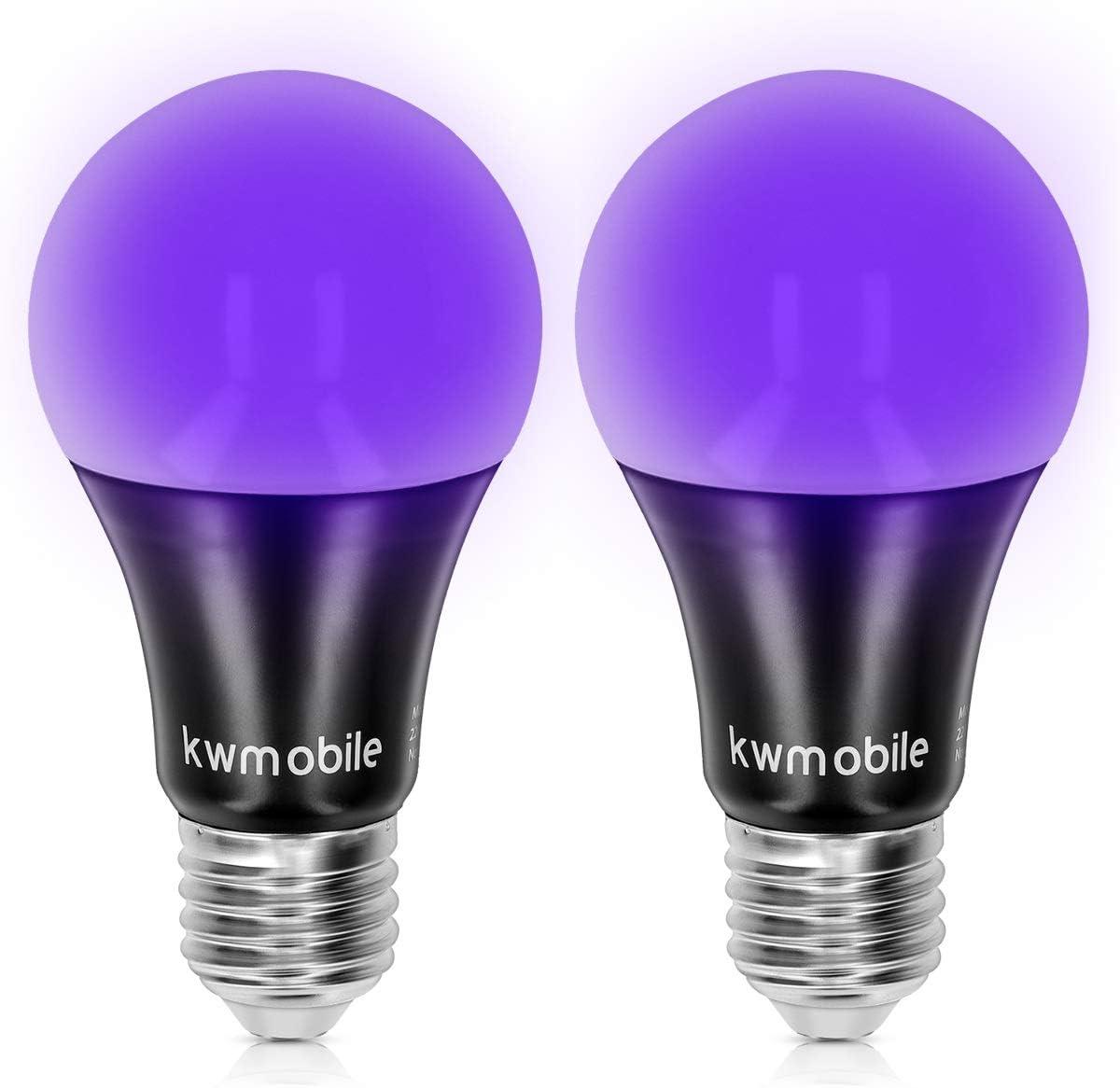 Pack of 2 7W Glow in The Dark Ultra Violet Neon Fluorescent Party Lights kwmobile Black Light Bulbs E27 LED Ultraviolet Blacklight UV Bulb