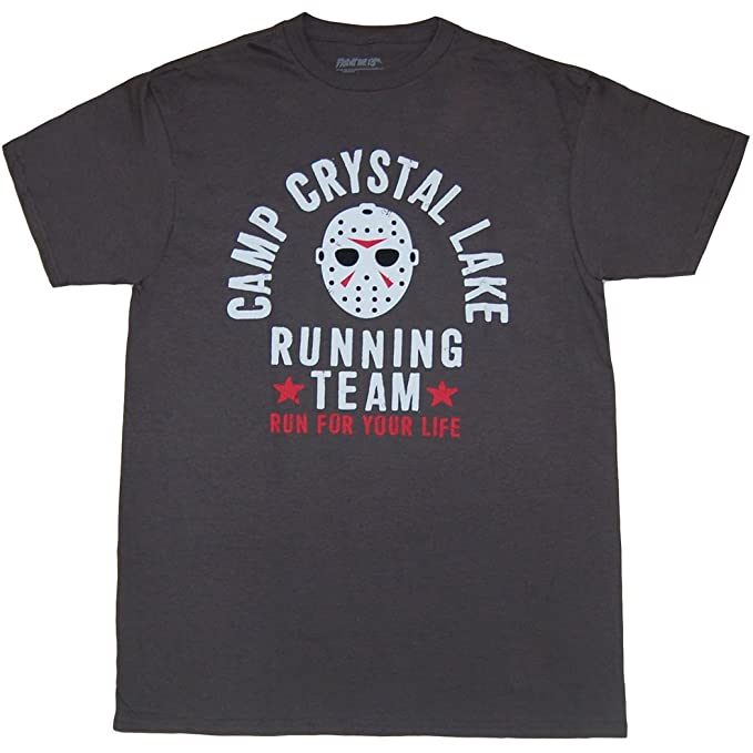 f6c4b6942561 Animation Shops Friday The 13th Camp Crystal Lake Running Team T-Shirt-Small  Charcoal