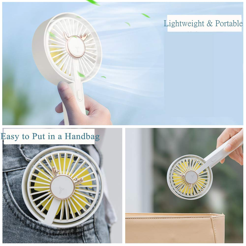 Upgrade Small Pocket Personal Desk Table Fan Super Cute for Outdoor Camping Travel Home Office,White Siivton Mini Handheld Fan,Small Desk Portable Fan USB Rechargeable Battery Operated