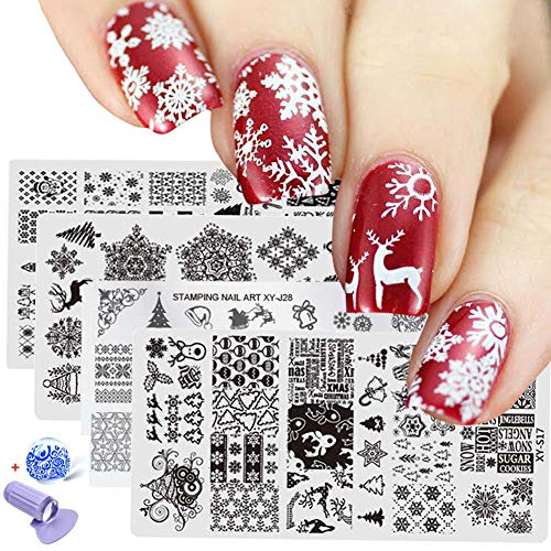 Lookathot 5/6PCS Nail Art Image Stamp Stamping Plates with 1 Stamper, 1 Scraper Christmas Halloween (6PCS(Christmas)) -