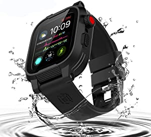 Waterproof Apple Watch 42mm Case,Mangix Shockproof Impact Resistant Rugged Protective Case with Bulit-in Screen Protector and Premium Soft Strap Bands for Apple Watch Series 3 & 2 42mm (Black)