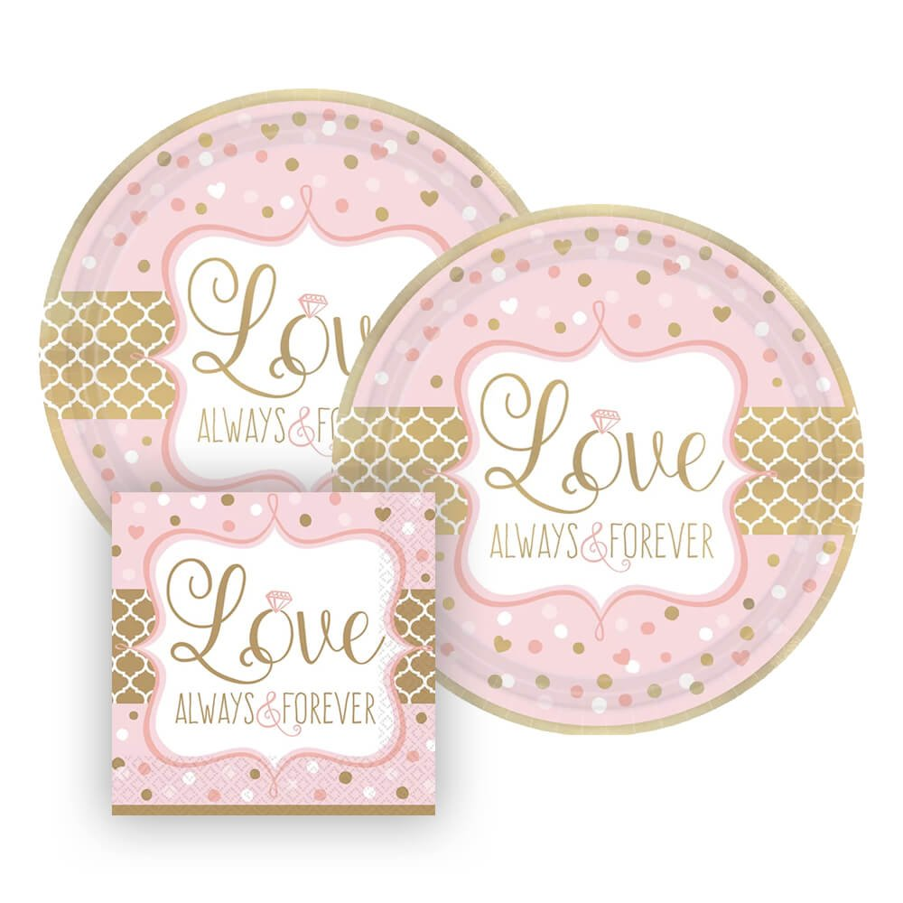 Love Always and Forever Metallic Paper Plates and Napkins for Bridal Shower or Anniversary, 16 Settings, Bundle- 3 Items
