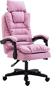 HTL Comfortable and Stable Executive Swivel Computer Chair Extra Padded Office Chair Detachable Cloth Cover 155° Recliner Design Ergonomic Home Office Relax Completely,Pink