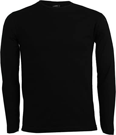 Camiseta de color liso de manga larga negra: Amazon.es: Ropa ...