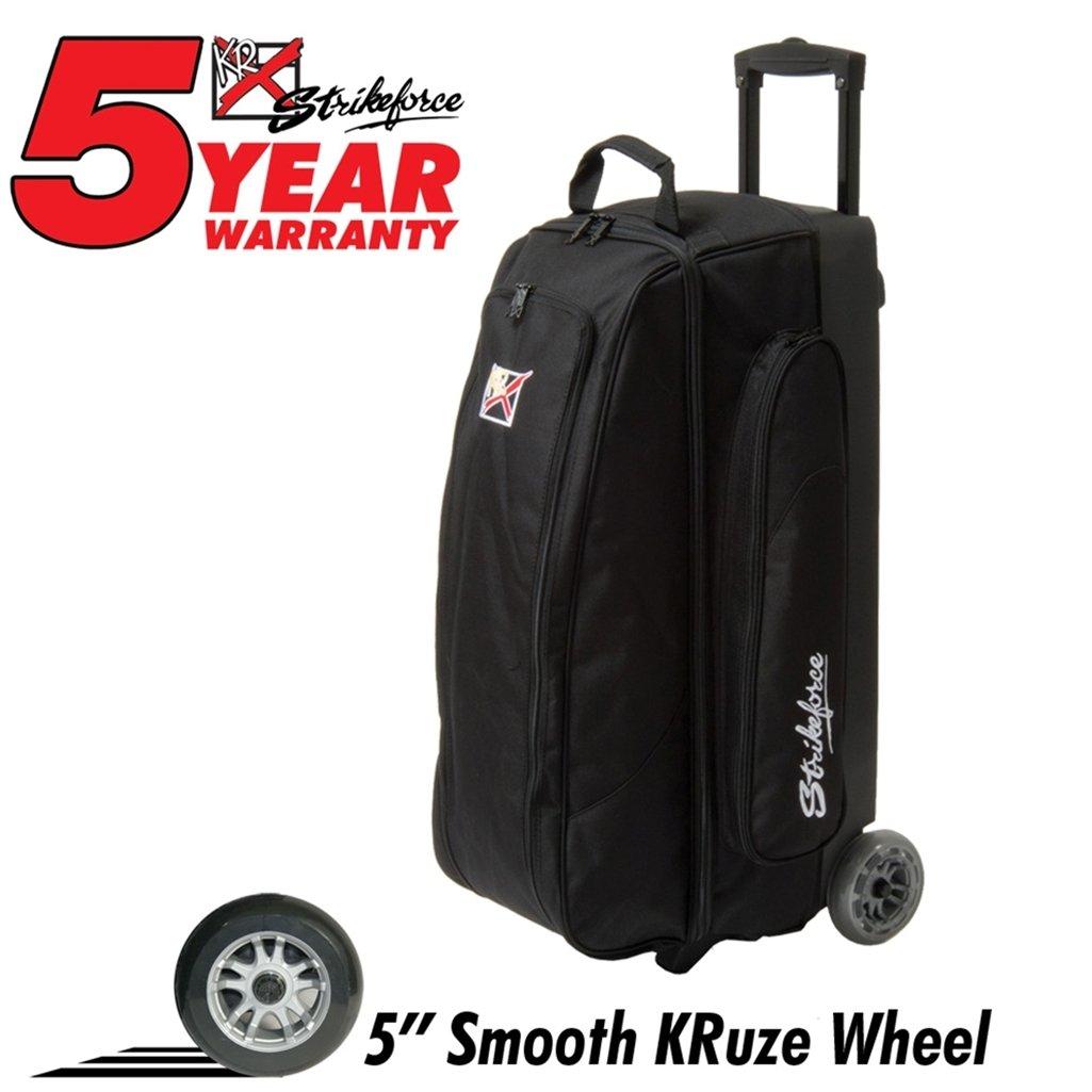 KR Cruiser Smooth Triple Roller Bowling Bag- Black ()