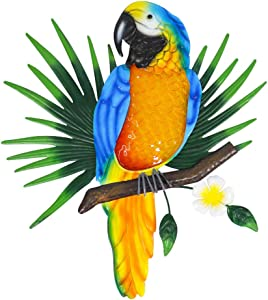 Liffy Metal Bird Wall Decor Outdoor Parrot Art Glass Hanging Decorations for Patio, Fence and Porch