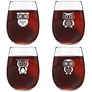 Cute Owl Wine Glass Set of 4 | Stemless Wine Glasses with 4 Unique Loveable Owls | 15 oz. Owl Decor Glasses | Makes Fun Owl for Women | Great Owl Kitchen Decor or New Home Gift Ideas | USA Made